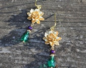 Golden Flower Earrings with Emerald Green and Purple Czech Glass Beads