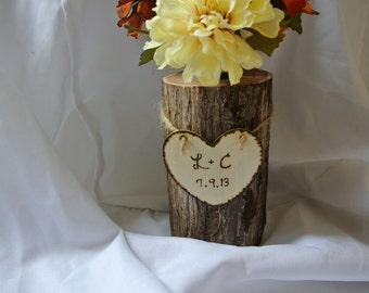 Master Bedroom Decor, Personalized Log Vase, 5th Anniversary Gift, Christmas Gift