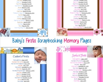 PRINTABLE Scrapbook Baby's Firsts Page, Memory Book, or Baby Book Page. Customized w baby's info. Multiple designs available for both.