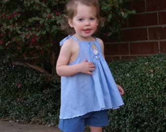 Hand Smocked Top and Denim Shorts