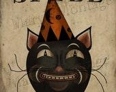 Für einen Zauberspruch, Jahrgang Halloween, Volkskunst, druckbare Kunst vorbeischauen
