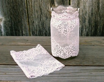Pale Pink Lace Jar Cover, Lolita Decor, Stretch Lace Jar Sleeve easy to apply and remove Home Decor Wedding Party