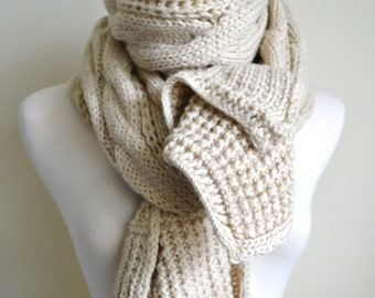 Chunky knit cable pattern long scarf shawl wrap gift idea women s knit