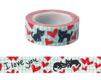 Cat / I Love You / Heart Washi Tape (10M)