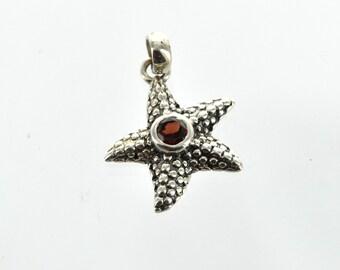 Luxury Sterling Silver Gemstone Pendant, RED GARNET STARFISH, custom bezel set pms0364