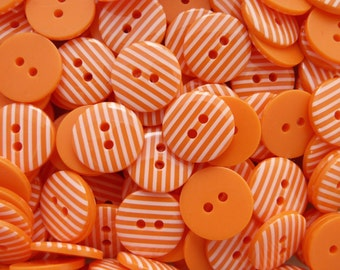 Orange 10 x 15mm High Quality Stripe Stripy Buttons