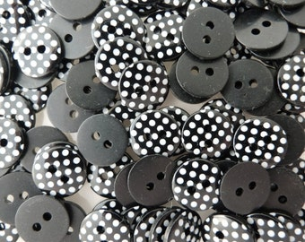 Black 10 x 12mm High Quality Polka Dot Buttons