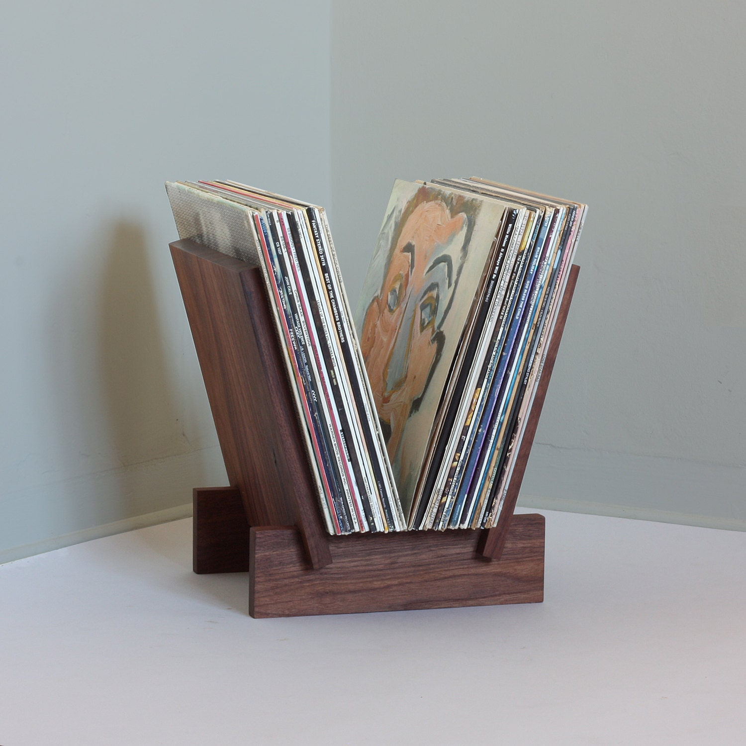 Lp Record Stand In Solid Walnut