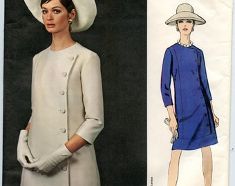 1960s Jo Mattli Vogue Couturier Design 1821 Misses Side Buttoned A Line One-Piece Dress Vintage Sewing Pattern Bust 38 UNCUT