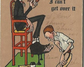 """1910 R. Lillo Comic Card """"I can't get over it"""" Shoe Shine Boy and Man with toes sticking out of boots Vintage  Postcard"""