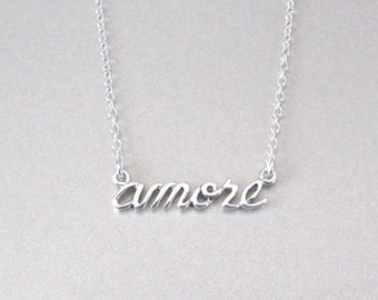 AMORE Necklace - Silver Love Necklace - Word Necklace - Amore Word Necklace