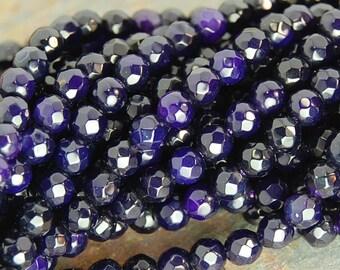 4mm Purple Indigo Agate Faceted Round  -15 inch strand