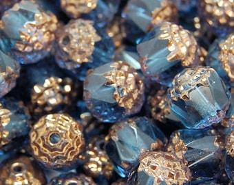 Antiqued Bronze 8mm Vintage inspired Montana Blue Czech Bead -20