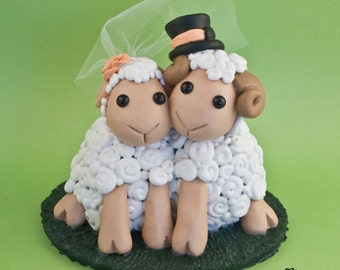 Adorable Sheep Wedding Cake Topper