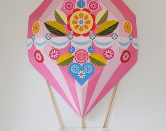 Pink, Hot Air Balloon, Paper Craft