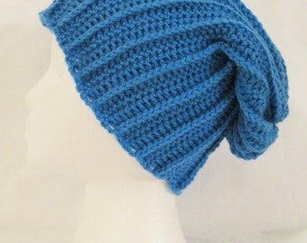 long slouch beanie bright blue hand crochet unisex fits teens and adults
