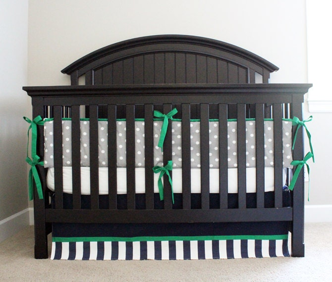 Kelly green and navy blue crib bedding set baby by gigglesixbaby