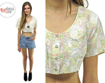 80s Floral Guess Jeans Crop Top | Ditsy Floral Boho Patch-Work Boxy Crop Top •  sm • md