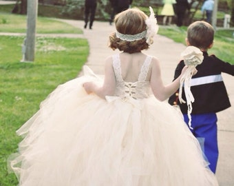 Ivory Flower Girl Dress, Champagne and Ivory Burlap and Lace theme wedding