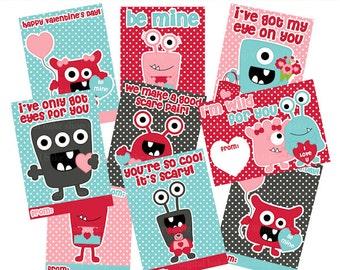 valentine cards monsters digital printable - Monster Valentines Digital Printable