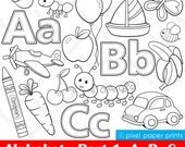 Alphabet Digital Stamps  Part 1 - ABC clip art - School clipart