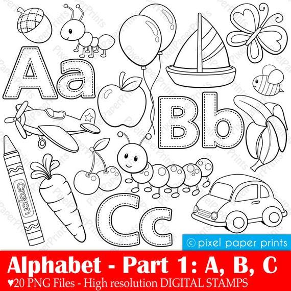 Line Art Letters : Alphabet digital stamps part abc clip art school