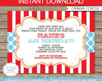 Carnival Invitation - Circus Invitation - Red & Aqua - INSTANT DOWNLOAD with EDITABLE text - pdf template - you personalize at home