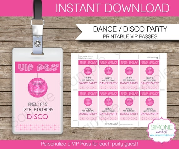 Disco Dance Party VIP Pass printable insert INSTANT DOWNLOAD and