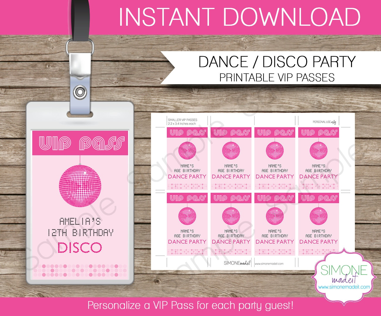disco dance party vip pass printable insert instant download. Black Bedroom Furniture Sets. Home Design Ideas