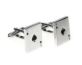 Spade Card Cufflinks - Groomsmen Gift - Men's Jewelry - Gift Box Included