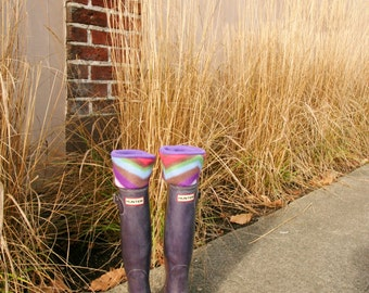 SLUGS Fleece Rain Boot Liners Purple with a Retro Geometric Chevron Cuff, Fall Winter Rainy Day Style, Tall Boot Socks (Sm/Med 6-8)