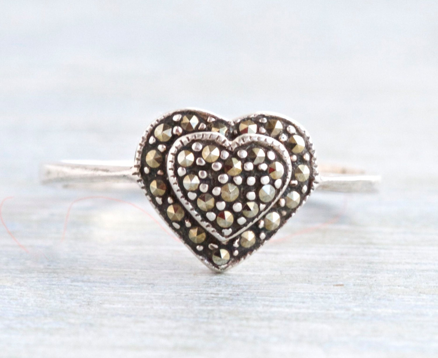 marcasite ring antique sterling silver by meanglean