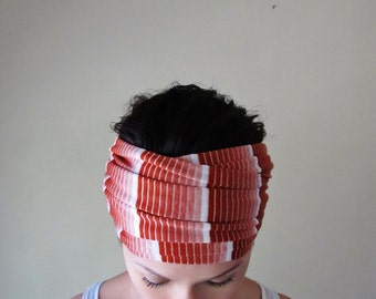 Rust Red Striped Head Scarf - Paprika Hair Wrap - Extra Wide Jersey Head Covering - Lightweight Headband - Womens Hair Accessories