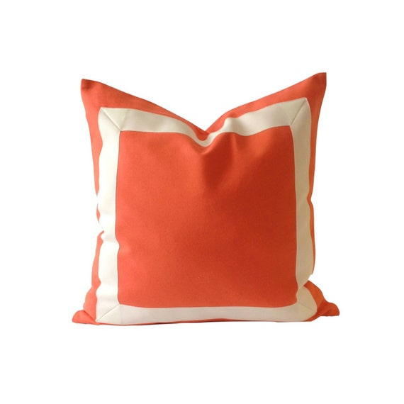 Decorative Pillow Covers 26x26 : Decorative Pillow Cover Orange Papaya Cotton by NoraQuinonez
