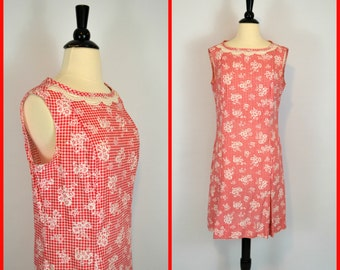 1960s MOD Red and White Gingham Print Sleeveless Pleated Dress by NPC Fashions