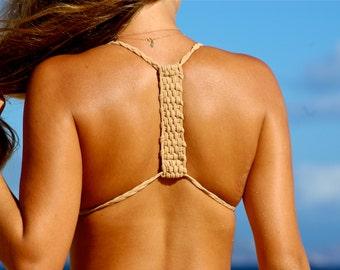HAMOA: Couture Basket Weave Bralet Halter Bikini Top