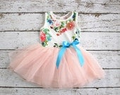 Girls Party Dress - Vintage tulle tutu Birthday dress- baby dress- Spring floral pink coral peach turquoise - Girls, toddler, infant dress