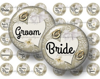 """WEDDING PARTY, 2 Digital Collage Sheets, Bottle Cap Images, 1"""" Circles, Burlap And Lace (No.1)1 Inch Circles Instant Download Bride, Groom"""
