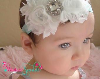 Baby headband, whiterosette flower headband, baby headbands, newborn headband, baby bow headband