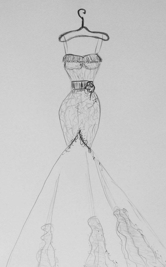 Items similar to wedding dress drawing paper anniversary gift one year anniversary gift custom wedding dress dress sketch original fashion sketch