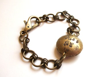 Metal Message Bracelet - Hand-Stamped Just Be Happy Bead in Aged Brass Chain Link.