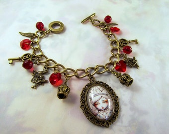 alice and the red queen illustration byzantine bracelet