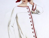 Vintage Art Deco white and ornamental red 1920s sewing pattern. - Contrapunt