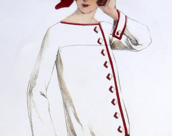 Vintage Art Deco white and ornamental red 1920s sewing pattern.