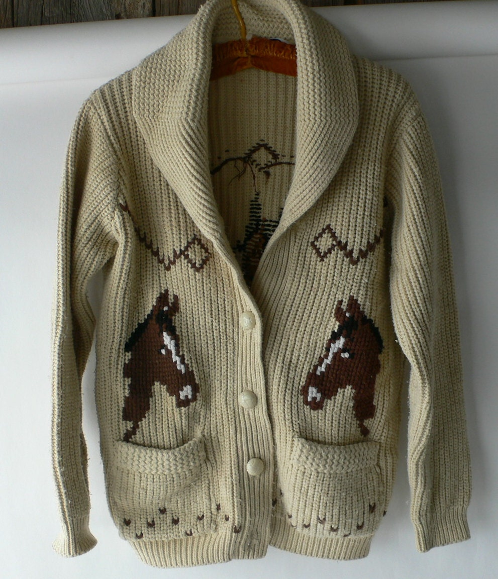 Vintage Horse Sweater Cowichan Miller Outerwear From Diz Has