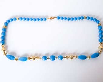 Brilliant Blue and Gold Costume Jewelry Necklace