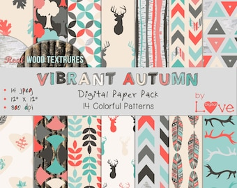 Vibrant Autumn Instant Digital Download Paper Pack