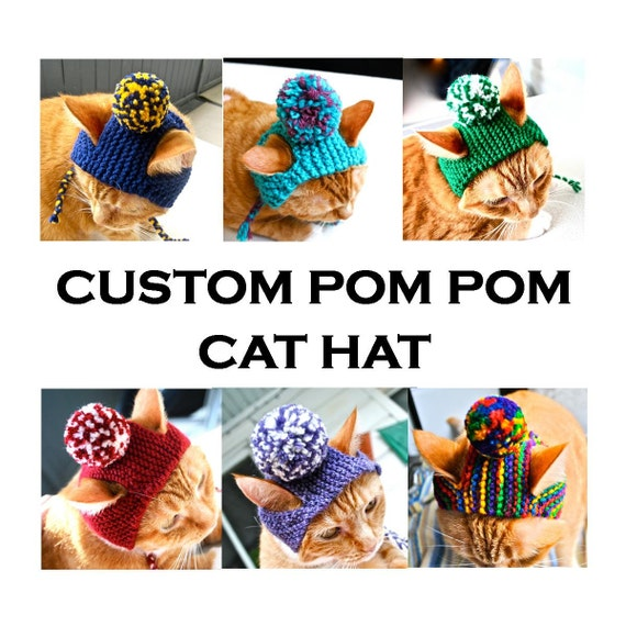 Custom Pom Pom Cat Hat - Choose Your Colors - Hand Knit Cat Costume