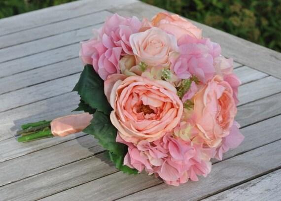 Silk Wedding Bouquet, Wedding Bouquet, Keepsake Bouquet, Bridal Bouquet Coral rose and pink hydrangea wedding bouquet made of silk roses.