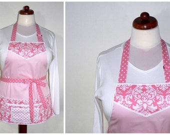 Full length Lotsa Pockets Apron - Work Apron with Zipper Pocket - Blush Pink Damask, one size fits most